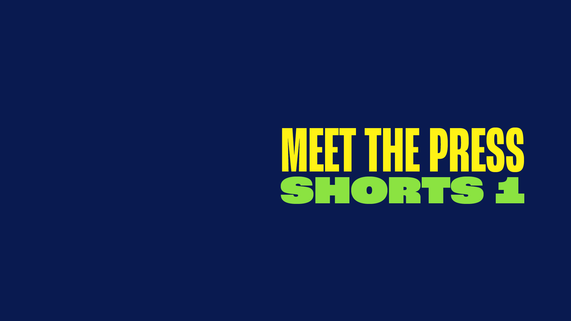 MEET THE PRESS SHORTS 1: When the News Becomes the News